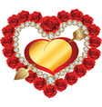 heart from red roses and diamonds vector image