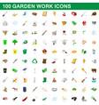 100 garden work icons set cartoon style vector image vector image