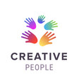 hands logo abstract family symbol design vector image