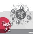 Hand drawn bow icons with icons background vector image vector image