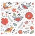 Elegant pattern with flowers and birds vector image vector image