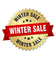 winter sale 3d gold badge with red ribbon vector image