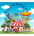 Band marching in parade at the circus vector image
