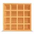 Empty Wooden Shelves Isolated on White Wall vector image