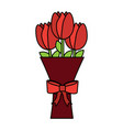 romantic bouquet flower tulip with bow decoration vector image