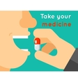 Take your medicine concept Person puts tablet in vector image