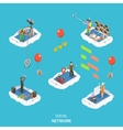 Social network isometric flat vector image