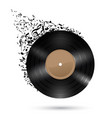 vinyl record with music notes flying up on white vector image