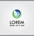 herb leaf logo vector image