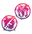 Grunge emblems t-shirt prints with guns vector image