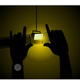two hands with light vector image vector image