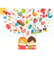 Imagination concept boy and girl reading a book vector image