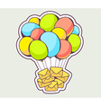 yellow envelopes flying on colorful ballo vector image