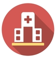 Hospital Building Flat Round Icon with Long Shadow vector image