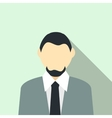 Man with a beard in a grey suit icon flat style vector image
