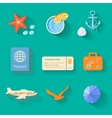Beach icons in flat style vector image