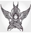 Hand drawn romantic six winged Angel vector image