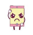 kawaii cute angry smartphone technology vector image