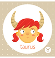 Taurus zodiac sign girl with horns vector image