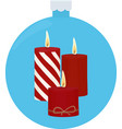 three red burning candles in blue christmas-tree vector image