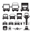 vehicles cars and transportation in front view vector image