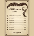 vintage menu for pub cafe restaurant with sea vector image