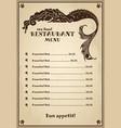 vintage menu for pub cafe restaurant with sea vector image