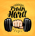 hand with dumbbell gym fitness sport label vector image