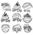 hot dog labels handwritten lettering logo label vector image