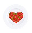 Heart From Strawberry On Plate vector image vector image