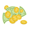paper money and coins isolated on white background vector image vector image