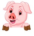 funny pig cartoon with blank board vector image vector image