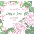 Background with two pink peonies and pink flowers vector image