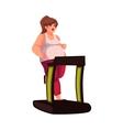 Fat woman walking on the treadmill doing cardio vector image