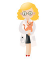 Female vet hugging pet cat vector image