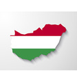 Hungary country map with shadow effect vector image