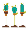 Incandescent and fluorescent bulbs in color vector image