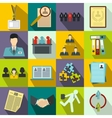 Office teamwork icons set flat style vector image