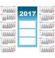 Quarterly Wall Calendar for 2017 vector image