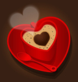red cup in heart shape of cappuccino vector image