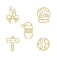 Christmas glitter gold sign and symbol vector image