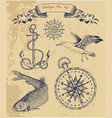 vintage sea set with fish gull and anchor vector image