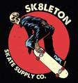 skull skateboarding vector image vector image