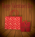 Valentine day Realistic red shopping bag with vector image
