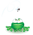frog with fly vector image vector image