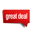 great deal red 3d realistic paper speech bubble vector image