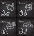 hand drawn fruits alphabet vector image