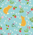 Seamless pattern with cute fox vector image