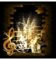 stone brick wall frame saxophone music vector image
