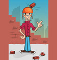 brick builder falls on his head vector image